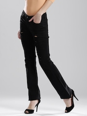 GUESS Black Nicole Bootcut Fit Distressed Jeans