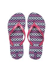 Lavie Women Pink & Navy Printed Flip-Flops