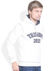THISRUPT White Printed Hooded Sweatshirt