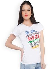 Jazzup White Printed T-Shirt