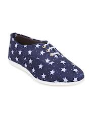 Shoetopia Women Blue Printed Casual Shoes