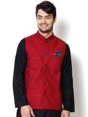 even Maroon Slim Fit Nehru Jacket