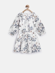 My Little Lambs Girls White Printed Fit & Flare Dress
