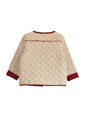 My Little Lambs Girls Off-White Printed Quilted Jacket