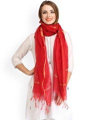 Aksara Red Chanderi Dupatta