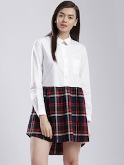 French Connection White & Navy Checked Tailored Dress