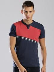 HRX by Hrithik Roshan Navy & Red T-shirt