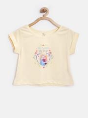 YK Disney Girls Yellow Printed T-shirt
