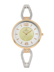 Westar Women Silver-Toned & Pearly Yellow Dial Watch 0448SPN112