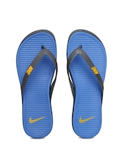 Nike Men Grey & Blue Flip-Flops