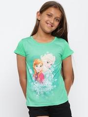 YK Girls Green Printed Disney T-shirt