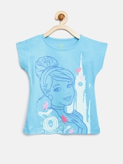 YK Disney Girls Blue Printed T-shirt