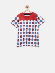 YK Disney Boys White & Red Spiderman Print T-shirt