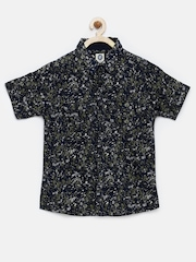 YK Boys Navy Printed Shirt