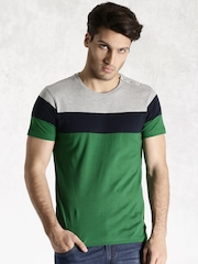 Roadster Green & Grey Melange Colourblock T-shirt