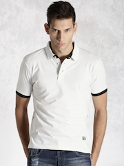 Roadster White Printed Polo T-shirt