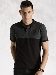 Roadster Black & Charcoal Grey Melange Engineered Striper Polo T-shirt