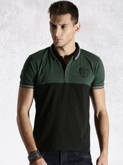 Roadster Green & Black Engineered Striper Polo T-shirt