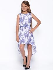 YK Girls White Floral Printed High-Low Dress