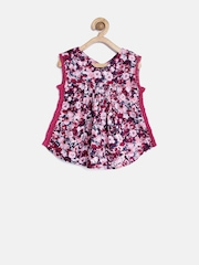 YK Girls Wine-Coloured Floral Print Top