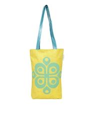 Earthen Me Yellow Printed Jute Tote Bag