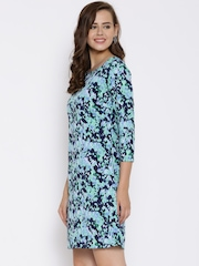 Van Heusen Woman Blue Printed Shift Dress