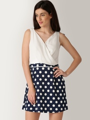DressBerry Navy & White Polka Dot Print A-Line Dress