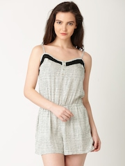 DressBerry Off-White Printed Playsuit