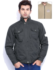 Sports52 wear Grey & Khaki Reversible Jacket
