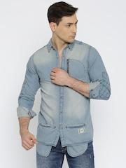 Roadster Men Blue Faded Casual Denim Shirt