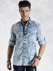 Roadster Blue Washed Denim Casual Shirt