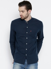 Levis Navy Linen Slim Fit Casual Shirt