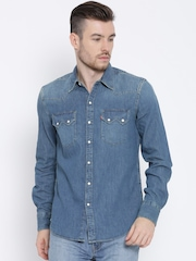 Levis Blue Slim Fit Denim Shirt