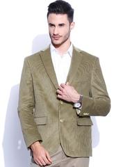 SUITLTD Beige Single-Breasted Tailored Fit Corduroy Blazer