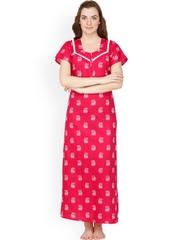 Secret Wish Pink & White Paisley Print Maxi Nightdress NT-142