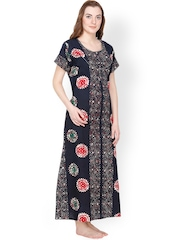 Secret Wish Navy Printed Maxi Nightdress NT-162