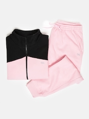 Pure Play Women Pink & Black Colourblocked Tracksuit
