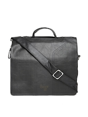 Baggit Men Black Textured Laptop Bag with Shoulder Strap