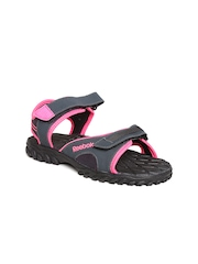 Reebok Women Black Adventure Chrome Sports Sandals