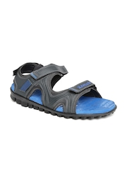Reebok Men Black Reflex Leather Sports Sandals