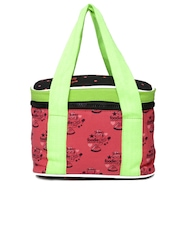 Kanvas Katha Women Coral Pink & Black Printed Lunch Bag