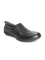 Hush Puppies by Bata Black Leather Semiformal Shoes