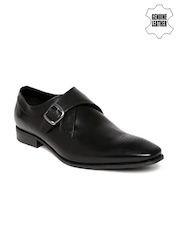 Hush Puppies Men Black Leather Monk Formal Shoes