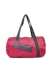 PUMA Women Pink Printed Studio Barrel Duffle Bag
