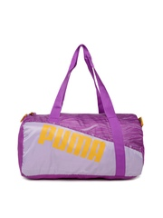 PUMA Women Purple Printed Studio Barrel Duffle Bag