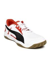 PUMA Men White & Orange Veloz Indoor II Football Shoes