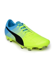 PUMA Men Neon Green & Blue evoPOWER 3.3 FG Football Shoes