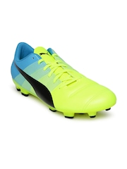 PUMA Men Neon Green & Blue evoPOWER 4.3 FG Football Shoes