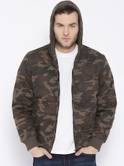 Fort Collins Brown Camouflage Print Hooded Jacket
