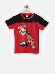 Cartoon Network Boys Red & Black Ben 10 Print T-shirt